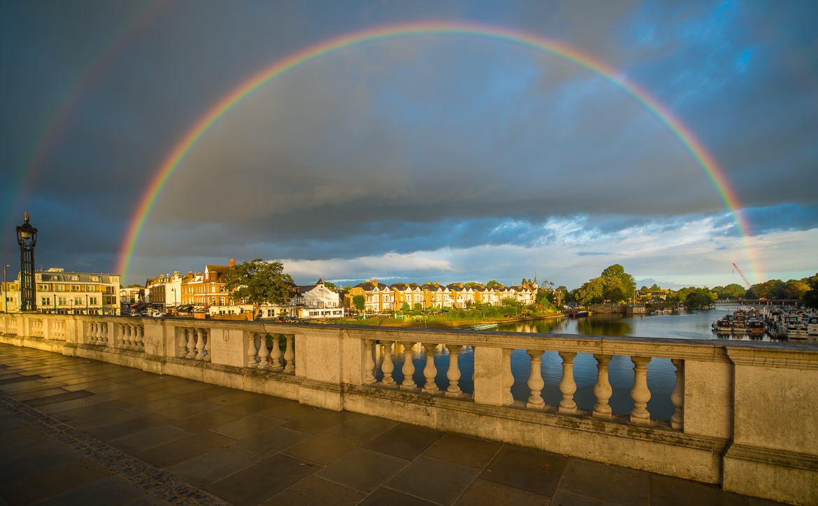 Sunrise and Rainbow from the Hampton Court Bridge