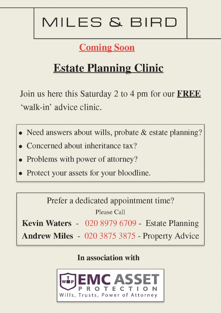 Estate Planning Clinic 1st & 8th Oct 2016