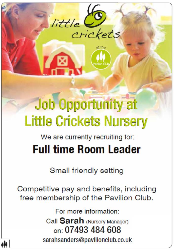 Little Crickets Nursery - Pavilion Club - Job Opportunity